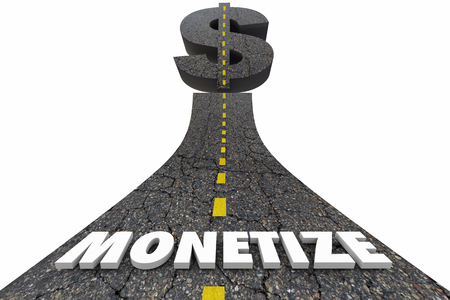 Monetize Road Word Dollar Sign Make Earn Money Revenue 3d Illustration Stok Fotoğraf