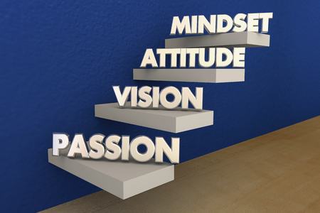 Passion Vision Attitude Mindset Steps Stairs Words 3d Illustration
