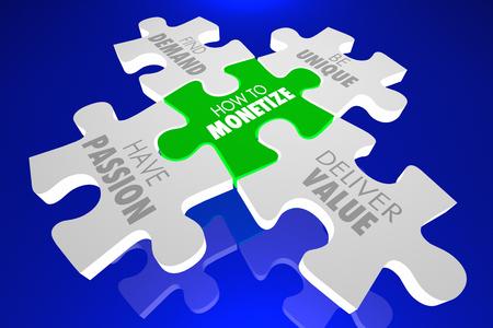 How to Monetize Puzzle Pieces Demand Deliver Value 3d Illustration