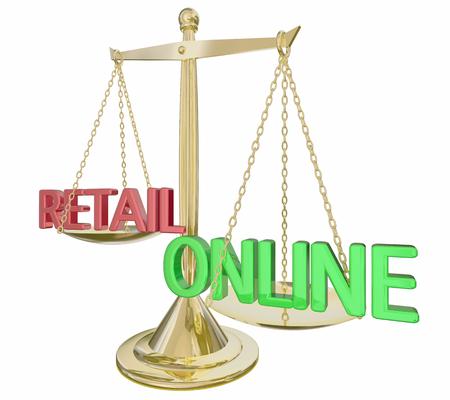 Online Vs Retail Gold Scale Words E-Commerce 3d Illustration