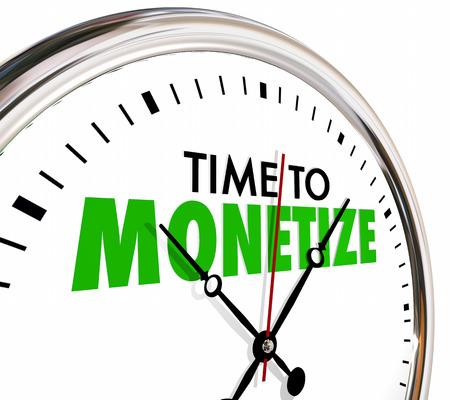 earn money: Time to Monetize Clock Earn Money Revenue Model 3d Illustration