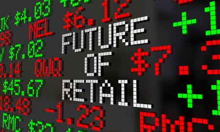 stockmarket: Future of Retail Stock Market Ticker Prices Valuation 3d Illustration
