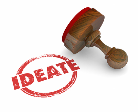 innovate: Ideate Round Stamp Think Plan New Ideas 3d Illustration Stock Photo