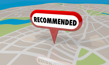 Recommended Location Store Map Pin Review 3d Illustration