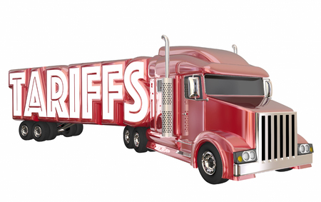 Tariffs Truck International Trade Imports Exports 3d Illustration Stock Photo
