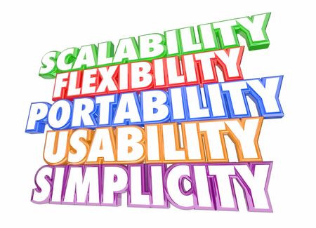 Scalability Usability Flexibility Simplicity Words 3d Illustration Stok Fotoğraf