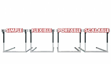 software portability: Simple Flexible Portable Scalable Hurdles Words 3d Illustration