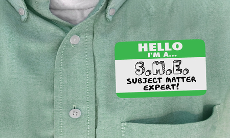 matter: Hello I Am SME Subject Matter Expert Name Tag Shirt 3d Illustration