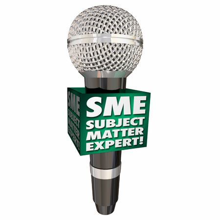 personnel matters: SME Subject Matter Expert Microphone Speaker Discussion Interview 3d Illustration