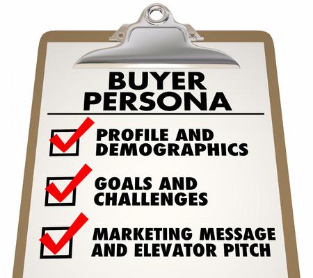 Koper Persona Klembord Checklist Klant Profiel 3D Illustratie