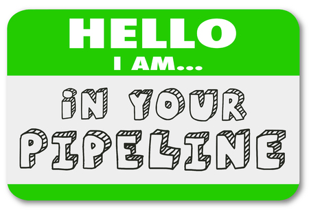 nametag: Hello I Am In Your Sales Pipeline Name Tag Sticker Illustration Stock Photo