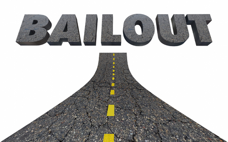 Road to Bailout Automotive Transportation Industry Financial Help 3d Illustration