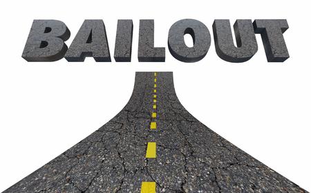 Weg naar Bailout Automotive Transport Industrie Financiële Hulp 3D Illustratie