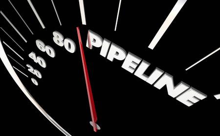 スピード メーター測定をパイプライン販売見通し単語 3 d イラストレーション