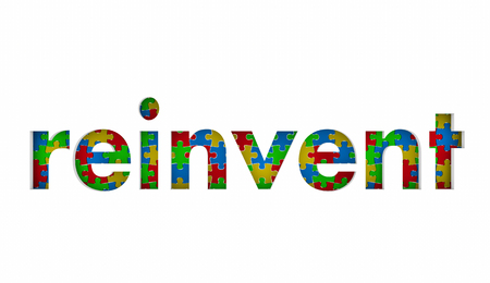 Reinvent Puzzle Pieces Word Redo Restart Innovate 3d Illustration