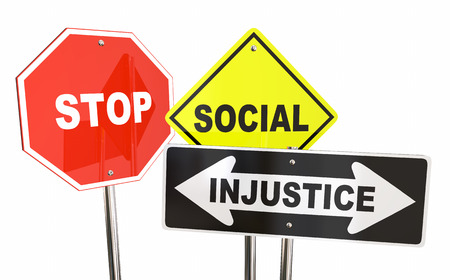 injustice: Stop Social Injustice Road Street Signs Fair Equality 3d Illustration Stock Photo