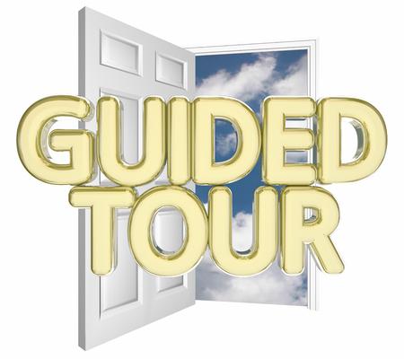 ガイドツアー オープンドア招待 3 d 図の言葉 写真素材