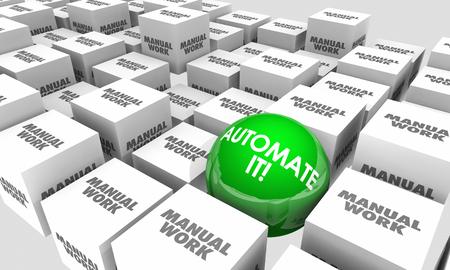 Automatiseer het Vs Handmatig Werkautomatie taken Sphere Cubes 3D Illustratie Stockfoto
