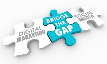 격차를 닦아 디지털 마케팅 소셜 미디어 퍼즐 3D 일러스트 레이션