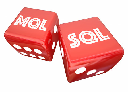 MQL SQL Marketing Sales Qualified Leads Two Dice Rolling 3d Illustration
