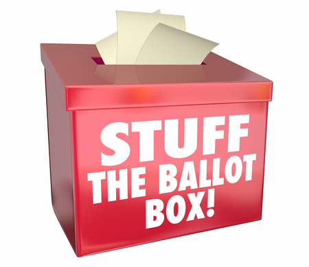 voters: Stuff Ballot Box Vote Rigging Election Rigged Voting 3d Illustration
