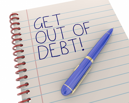 Get Out of Debt Financial Help Bankruptcy Pen Writing Words 3d Illustration