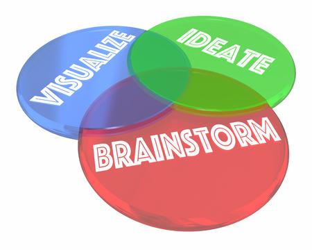 workable: Brainstorm Visualize Ideate Venn Diagram 3d Illustration Stock Photo