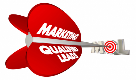 MQL 限定販売のマーケティング リード弓矢印 3 d イラストレーションをターゲット 写真素材