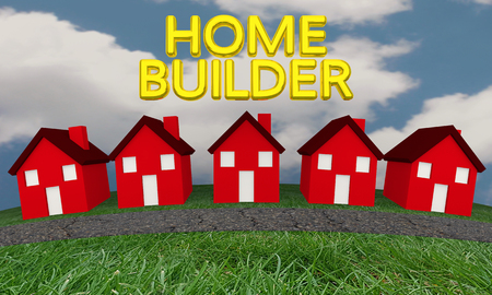 real estate house: Home Builder Construction New Houses 3d Illustration
