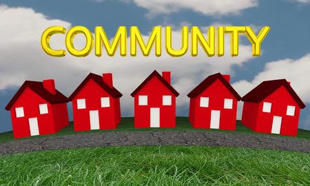 Gemeenschap huizen huizen wijk straat 3d illustratie