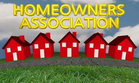 De Vereniging van de huiseigenaarsgroep huisvest Huizen 3d Illustratie Stockfoto