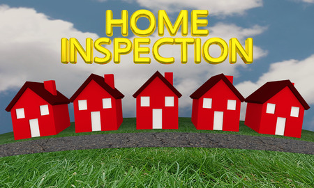 Home Inspection Houses Street Words 3d Illustration Stock Photo
