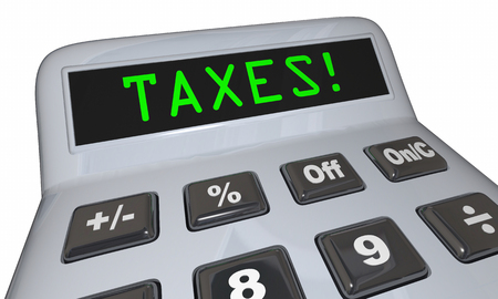 Taxes Word Calculator Accounting Fees 3d Illustration Фото со стока