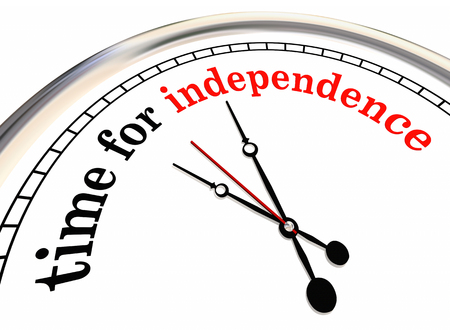 Time for Independence Clock Go Alone Self Employed 3d Illustration Stock fotó