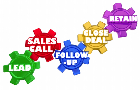 gears: Lead Sales Call Follow Up Close Deal Gears Procedure 3d Illustration Stock Photo