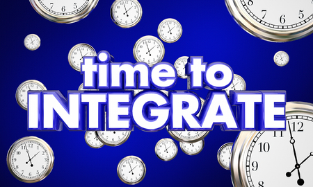 consolidate: Time to Integrate Clocks Falling Integration 3d Illustration