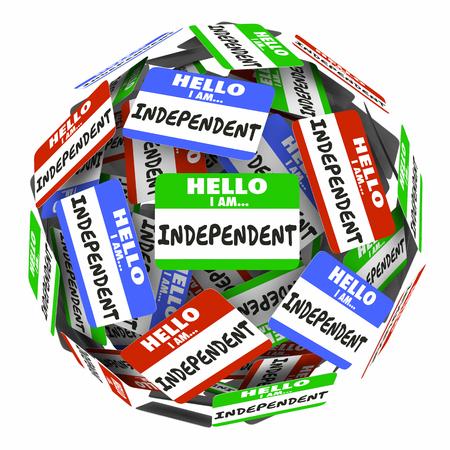 sufficient: Independent Name Tag Sphere Self Employed Independence 3d Illustration
