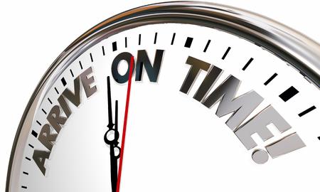 Arrivée sur Time Horloge Ponctuelle Horaire Illustration 3d