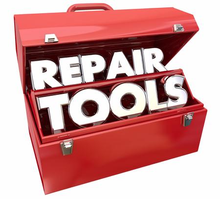Reparatie gereedschappen Fix Toolbox Los Probleem 3D Illustratie Stockfoto