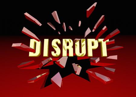 surprising: Disrupt Word Breaking Glass Change Innovation 3d Illustration Stock Photo