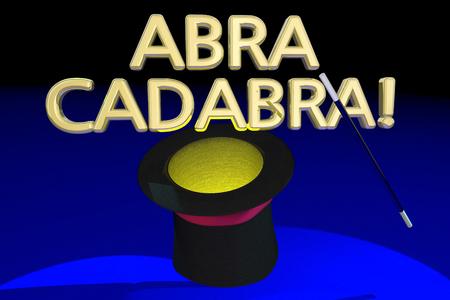 Abra Cadabra Magic Hat Wand Trick Act 3d Illustration