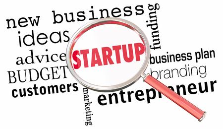 founding: Startup Magnifying Glass Words New Business Launch 3d Illustration