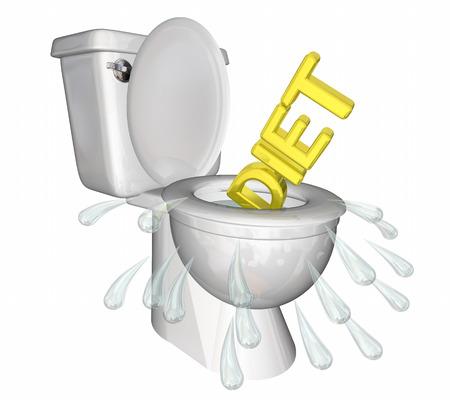 トイレをダイエット フラッシング失う重量フィットネス 3 d イラストレーション