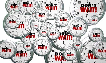 Ne pas attendre les horloges Flying Act Now Urgent Time 3d Illustration Banque d'images - 77519717