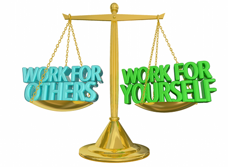 Work for Yourself Vs Others Self Employed Scale 3d Illustration Stock Photo