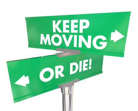 disrupt: Keep Moving or Die Road Signs Adapt Change Words 3d Illustration Stock Photo