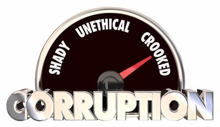 Corruptie Crooked Onbillijke Gedragsmeter Speedometer 3d Illustratie