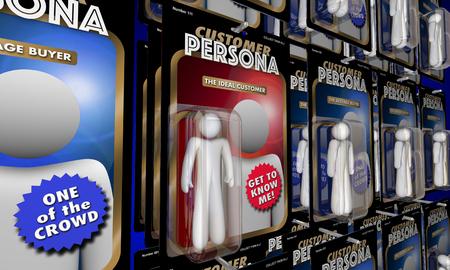 최고의 이상적인 구매자 작업 인물을 대상으로하는 고객 페르소 3d 일러스트