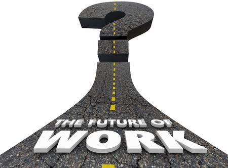 Futuro del trabajo Carretera Empleo Movimiento hacia adelante Ilustración 3d