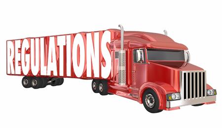 governmental: Regulations Trucking Transportation Shipping Laws Rules 3d Illustration